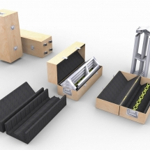 Conception 3D pieds de table et boite de transport